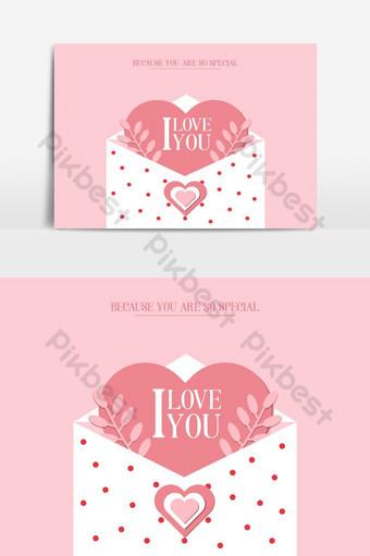 elemento gráfico de vector de tarjeta de invitación de carta de amor Elementos graficos Modelo EPS