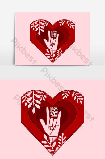 Formas de corazón de corte de papel 3d con elemento gráfico de vector de sombra Elementos graficos Modelo EPS