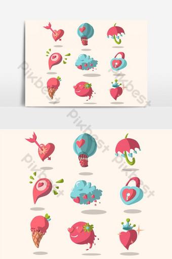 paquete de pegatinas de amor elemento gráfico vectorial 11 Elementos graficos Modelo EPS