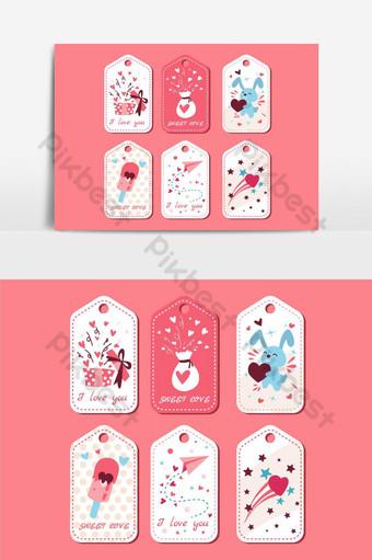 paquete de etiquetas de amor elemento gráfico vectorial 7 Elementos graficos Modelo EPS