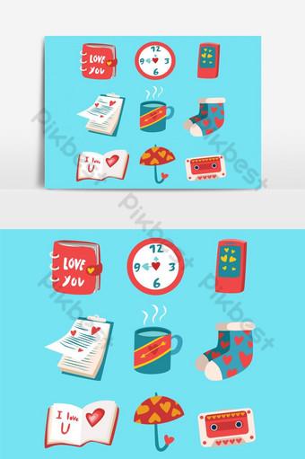 paquete de pegatinas de amor elemento gráfico vectorial 1 Elementos graficos Modelo EPS