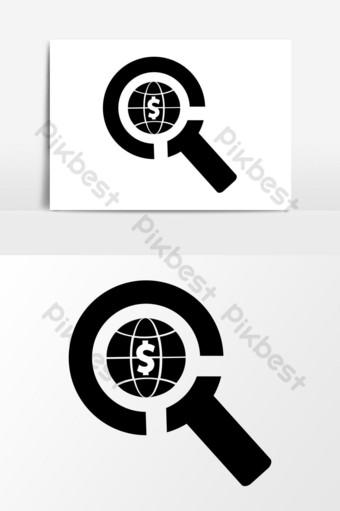 gráficos vectoriales de icono de búsqueda de economía global Elementos graficos Modelo EPS