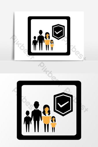 gráficos vectoriales de icono de seguridad familiar Elementos graficos Modelo EPS