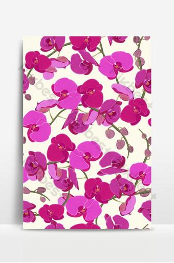 orquídea rosada floral de patrones sin fisuras flores floración flor follaje ramo Fondos Modelo EPS