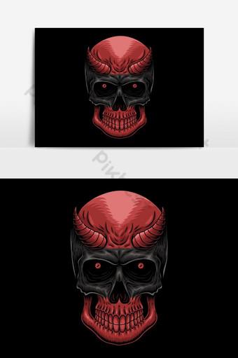 Ilustración de vector de cabeza demonio cráneo Elementos graficos Modelo EPS