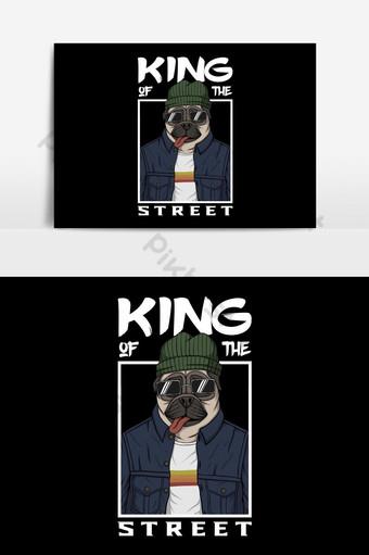 perro pug rey de la calle ilustración vectorial Elementos graficos Modelo EPS