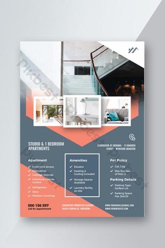 Modèle de Flyer de design immobilier ou intérieur Modèle PSD