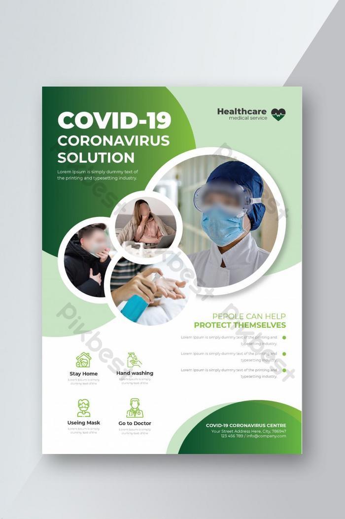 coronavírus covid 19 modelo de folheto de saúde médica vetor premium