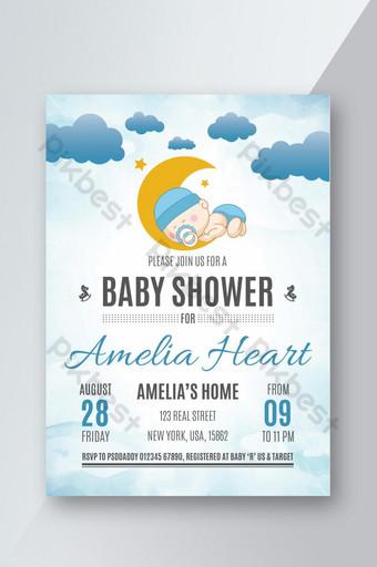 Conception de flyers de douche de bébé Modèle PSD