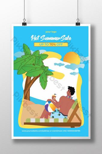 Conception différente de flyer ou d'affiche de vente d'été spéciale avec plage et mer Modèle AI