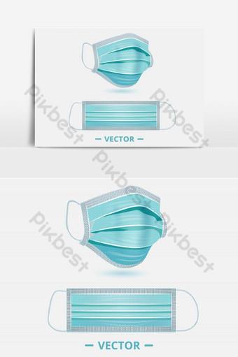 máscara médica máscara quirúrgica protección contra virus e infecciones objetos realistas en 3d Elementos graficos Modelo EPS