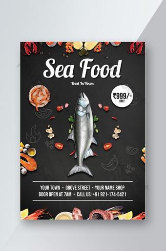 Sea Food Restaurants Flyer Template PSD