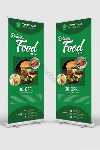 comida deliciosa enrollar plantilla de banner Modelo PSD