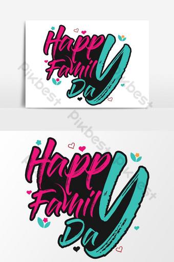 سعيد عيد الأسرة الطباعة حروف تي شيرت الحب تصميم ناقلات منظمة العفو الدولية مجانا صور PNG قالب AI
