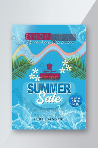 Flyer de vente d'été en bleu avec de belles éclaboussures et des arbres Modèle PSD