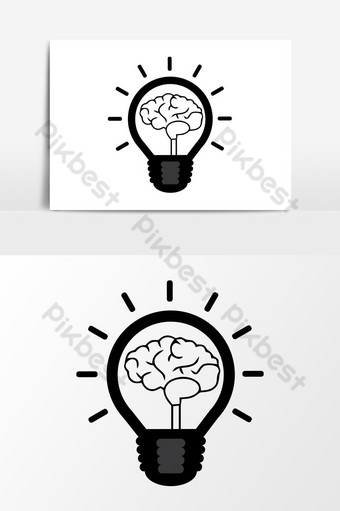gráficos vectoriales de icono de poder cerebral Elementos graficos Modelo EPS