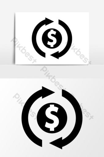 gráficos vectoriales de icono de reembolso de dinero Elementos graficos Modelo EPS