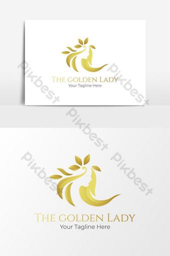 diseño de logotipo de spa dorado para mujeres Elementos graficos Modelo PSD