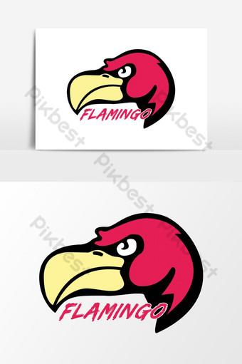 diseño de logotipo de mascota de pájaro rosa Elementos graficos Modelo AI
