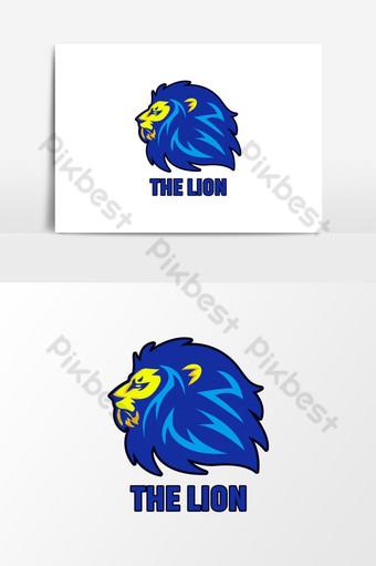diseño de logotipo de león enojado azul y amarillo para el logotipo de juegos de deportes Elementos graficos Modelo AI