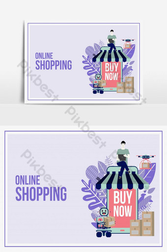 Online delivery shopping flat design with concept robot service. PNG Images Template AI