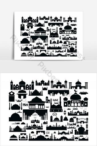 iconos de mascarada iconos de eid mubarak iconos de mascarilla png y vector ai Elementos graficos Modelo AI