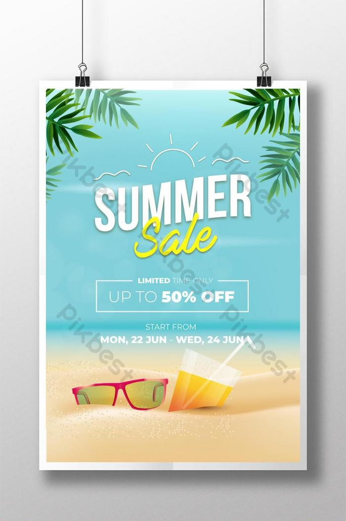 beach summer sale with sunglasses poster design template