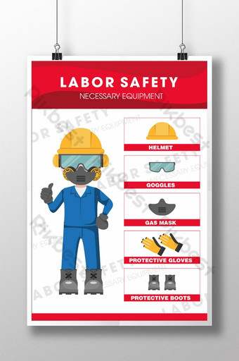 Labor security propaganda poster and necessary equipment Template CDR