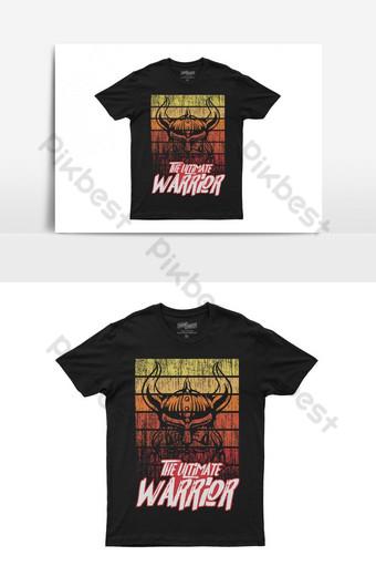 desain kaos t shirt retro vintage kustom prajurit pamungkas Elemen Grafis Templat AI