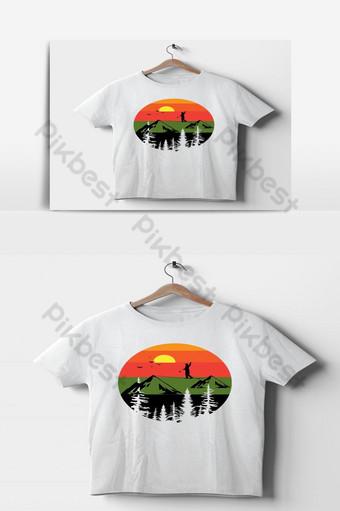 diseño de camiseta de montaña vector día de verano visto plantilla de camiseta de alpinista sol Elementos graficos Modelo EPS