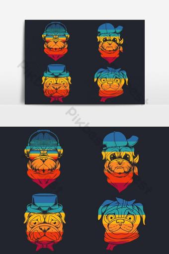 Ilustración de vector retro de colección de cabeza de perro pug Elementos graficos Modelo EPS