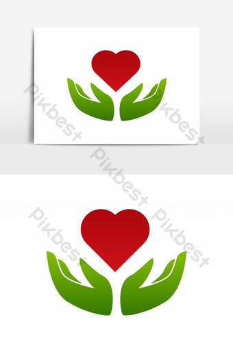 Manos y forma de amor formando diseño de logotipo de corazón Elementos graficos Modelo EPS