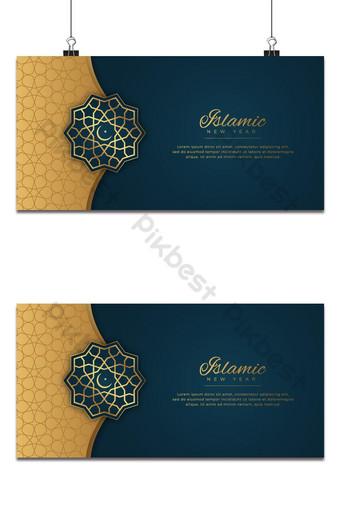 latar belakang muharram tahun baru islami hias gaya emas Latar belakang Templat EPS