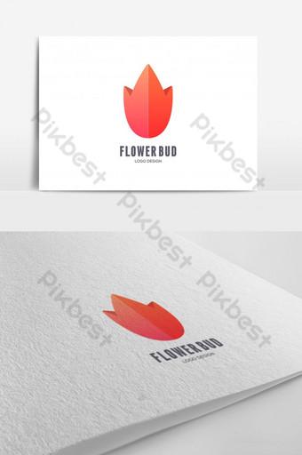 Plantilla de diseño de logotipo colorido floral de capullo de flor de loto Modelo EPS