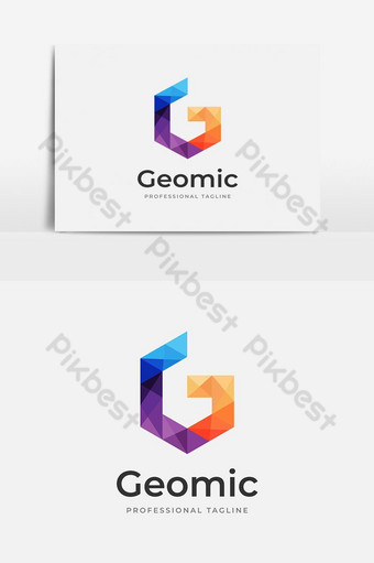 desain logo huruf g berwarna-warni abstrak Elemen Grafis Templat AI