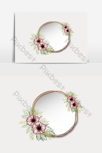 Marco de anillo de oro con flores y hojas de hibisco doodle Elementos graficos Modelo EPS