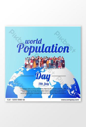 세계 인구의 날 배너 템플릿 디자인 템플릿 EPS