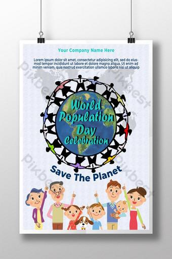 세계 인구의 날 축하 포스터 디자인 템플릿 PSD
