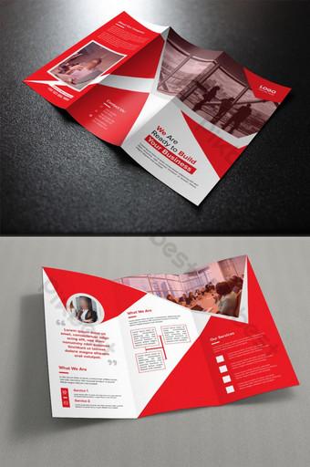 plantilla de folleto corporativo rojo plegable Modelo AI