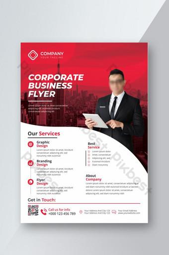 Modèle de conception moderne simple créatif professionnel d'entreprise flyer couleur rouge Modèle EPS