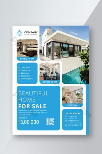Modèle de conception moderne de flyer immobilier professionnel créatif simple couleur bleue Modèle EPS