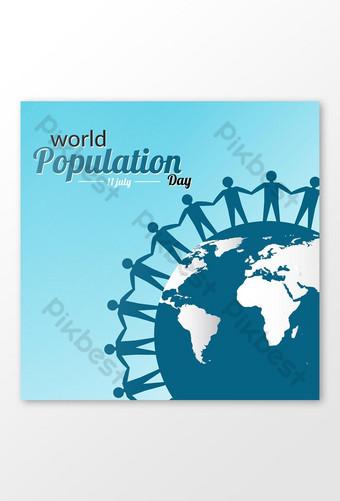 세계 인구의 날 배너 템플릿 템플릿 EPS