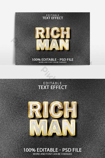 Diseño de efecto de texto de luz de diamante dorado de hombre rico con fondo de textura Elementos graficos Modelo PSD