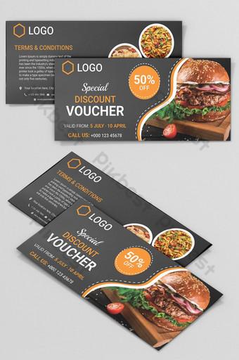 Conception de modèle de carte de coupon de restaurant fond noir Modèle AI