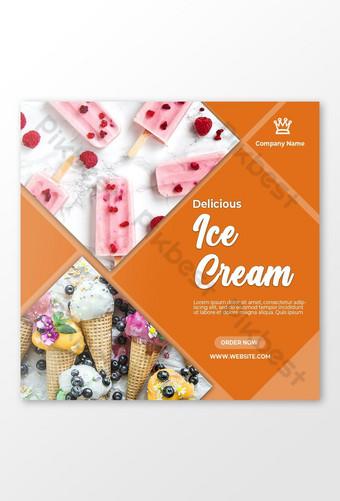 Delicious Ice Cream Social Media Advertisement Template PSD