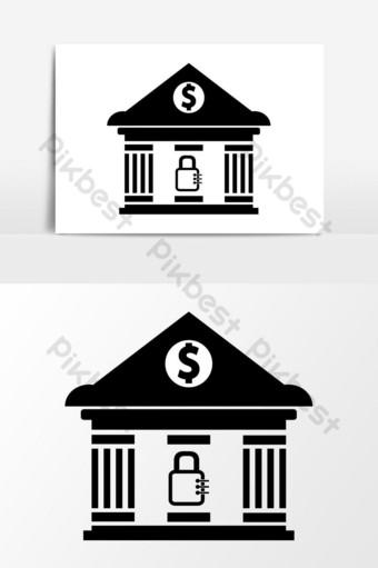 gráficos vectoriales de iconos de seguridad bancaria Elementos graficos Modelo EPS