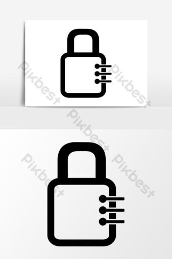 gráficos vectoriales de icono de seguridad de casillero Elementos graficos Modelo EPS