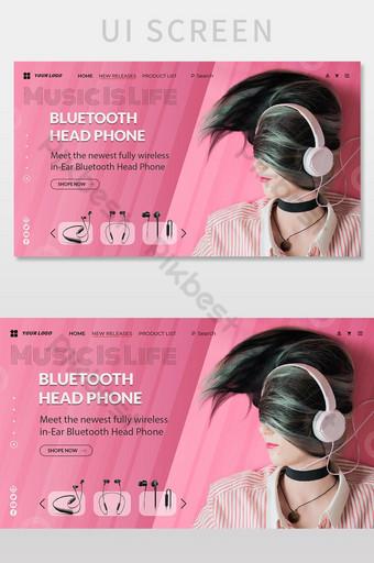 auriculares marketing moderno página de aterrizaje web banner diseño plantilla psd ai eps UI Modelo PSD