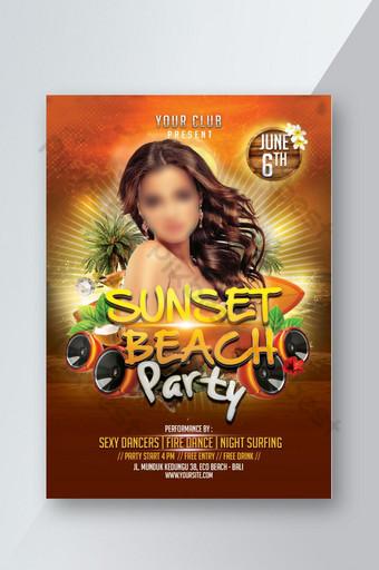 Modèle de Flyer de fête au coucher du soleil sur la plage Modèle PSD