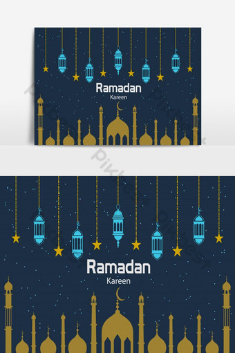 تصميم بطاقات المعايدة العيد مزينة بالفانوس المعلق الإبداعي والنجوم صور PNG قالب EPS